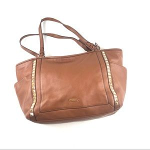 COACH Park Leather Pyramid Stud Carrie Tote Brown
